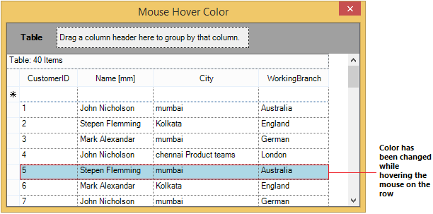 Change the row color while hovering the mouse on the row