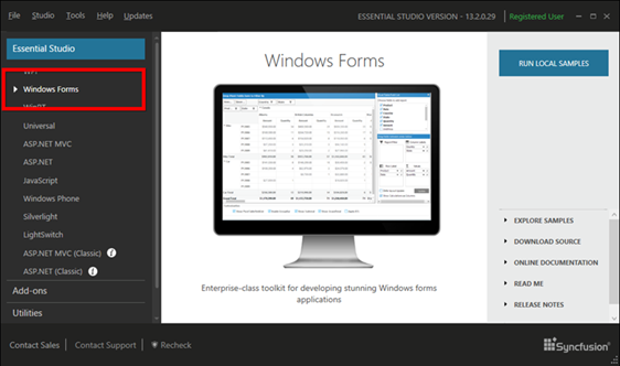 Showing Windows Forms dashboard