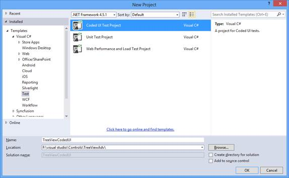 Creating test application