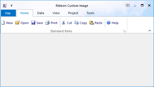 After applying the custom header image in RibbonControlAdv