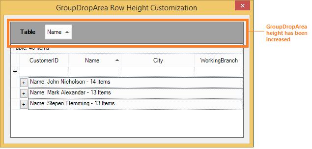 GroupDropArea height has been increased
