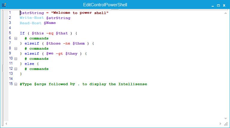 EditControl configured with PowerShell language