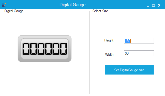 Digital Gauge specified with Default size