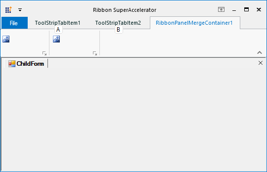Before specifying the SuperAccelerator to RibbonMergeContainer