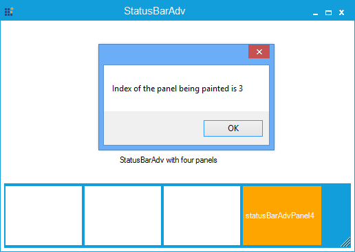 Show the StatusBarAdv panel is painted in index number 3