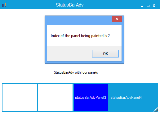 Show the StatusBarAdv panel is painted in index number 2