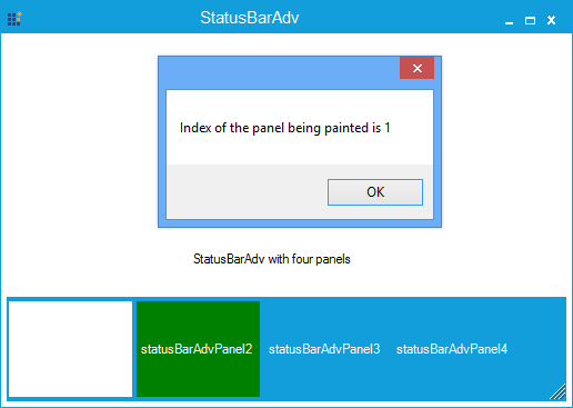 Show the StatusBarAdv panel is painted in index number 1