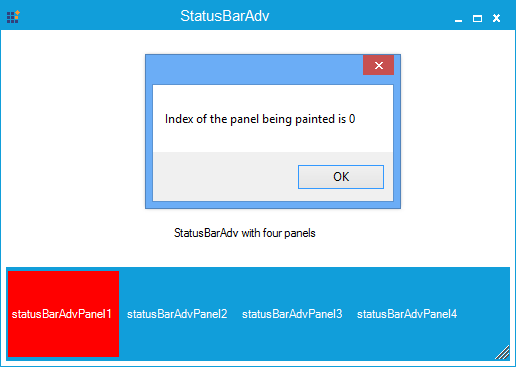 Show the StatusBarAdv panel is painted in index number 0