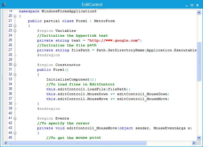EditControl shows with hyperlinks in C#