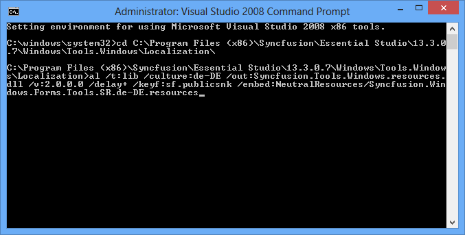 Showing Visual Studio command prompt