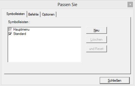 Localization in Customization dialog box