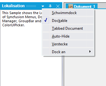 Localization in DockingManager