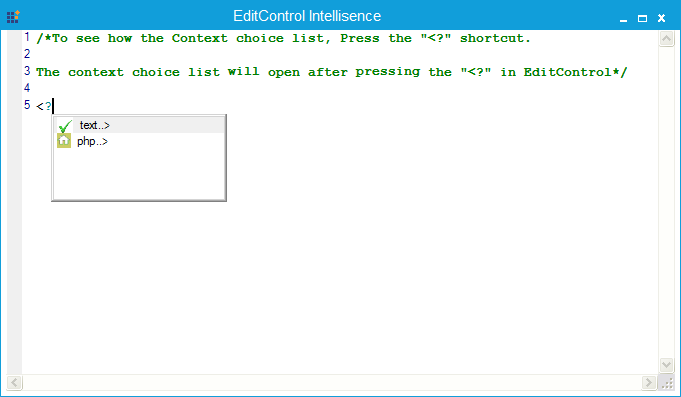 Showing context prompt list