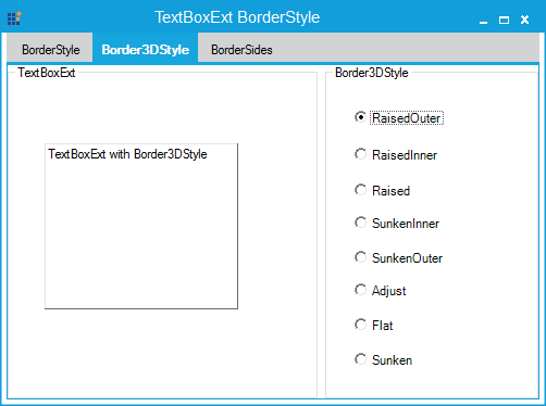 Border 3Dstyle is RaisedOuter