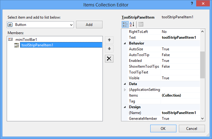 Item Collection Editor for MiniToolBar