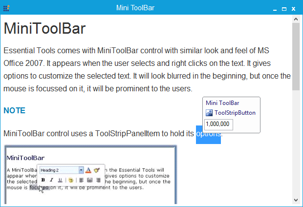 Custom controls loaded in MiniToolBar