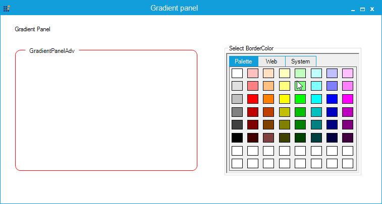Showing customization of GradientPanel