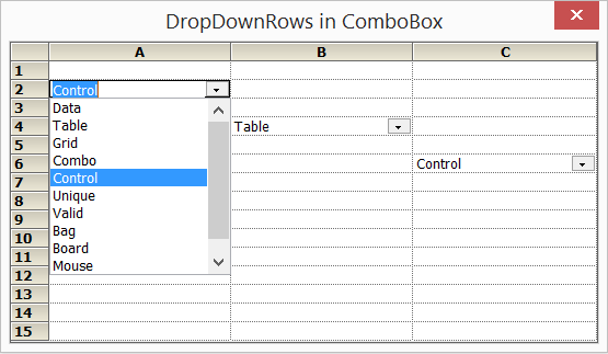 Dropdown of combobox in a cell
