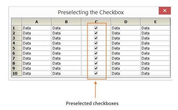 Showing preselected checkbox