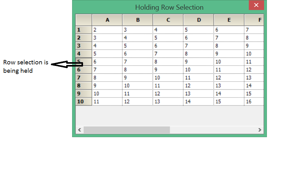 Showing hold the row selection in grid