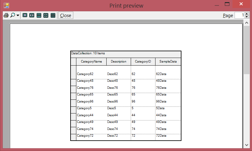 Show the print preview dialog window