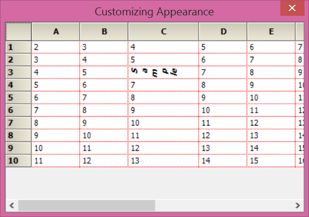 customize the appearance of the grid cell