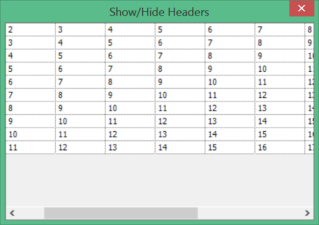 Hide the row and column headers in GridControl