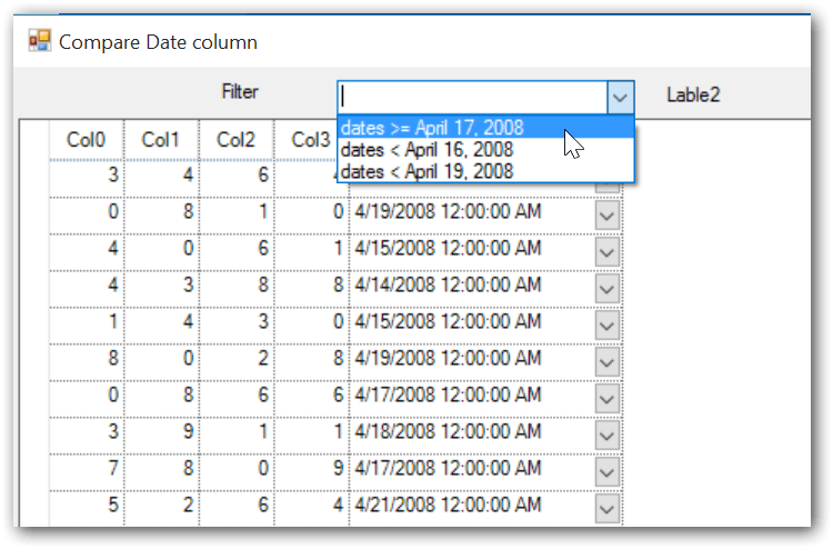 Compare the date column in gridcontrol