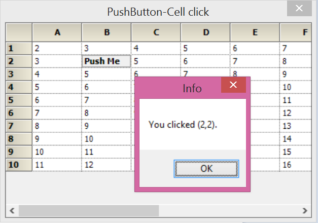 Show pushbutton in grid cell
