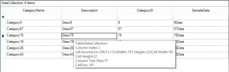 Show the collection of data information while hovering the cell