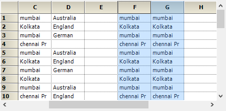 Copy the data based on columns