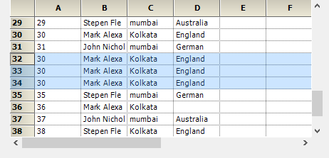 Copy the data based on rows