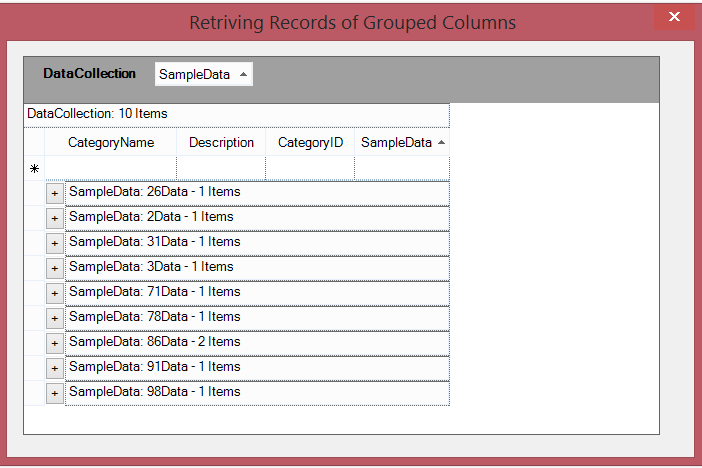 Retrieve the records of grouped columns