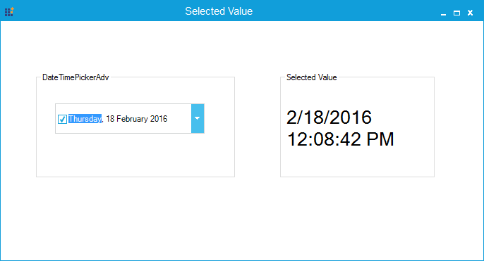Showing selected value
