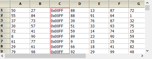 Shows the hexa decimal format in the grid column
