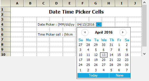 Customize the calendar cell type in grid