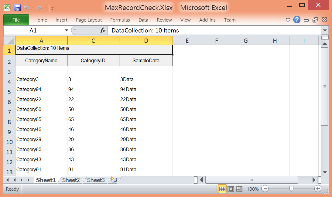 Show the values in excel