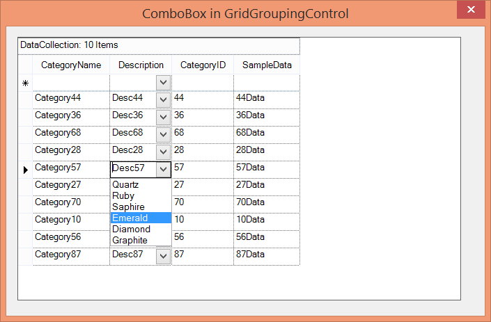 Show the combobox added to specific column