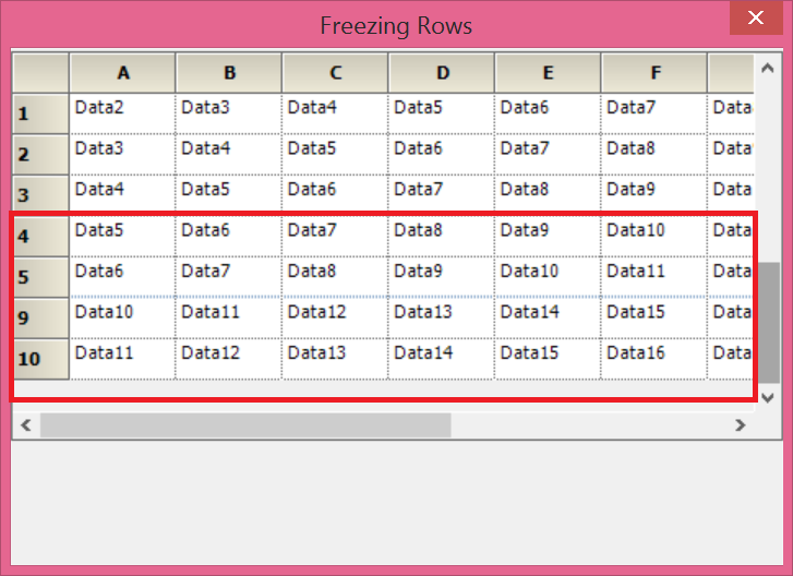 Freeze the specified range of rows in GridControl
