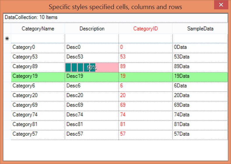 Show the different style applied to GridGroupingControl