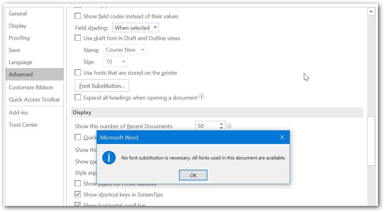 Using Microsoft word application