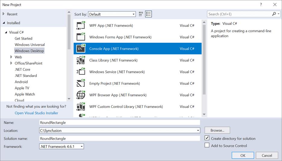Create a console application in Visual Studio