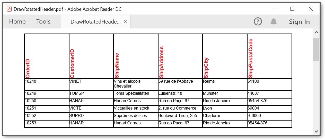 Output PDF document