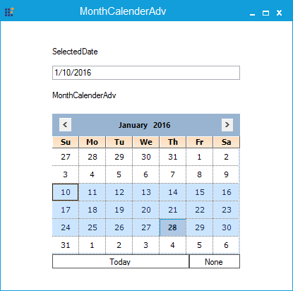 Multiple date selected in MonthCalendarAdv