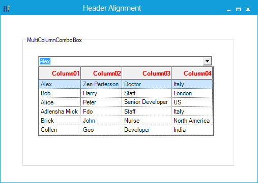 Column header alignment is specified as right