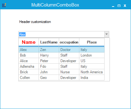 Customize the specific cell of the column header
