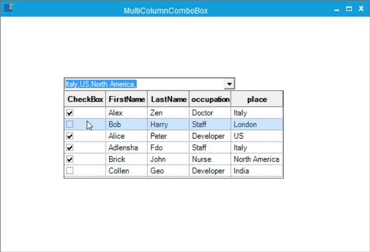 Adding checkbox to the MultiColumnComboBox with image