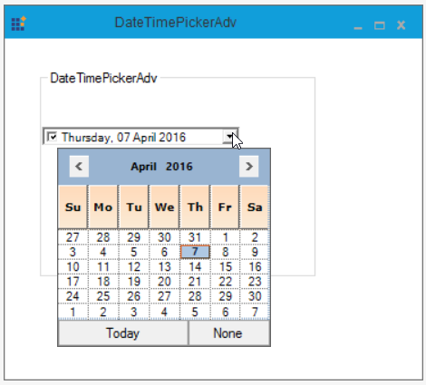 Set the height of day names in calendar of DateTimePicker
