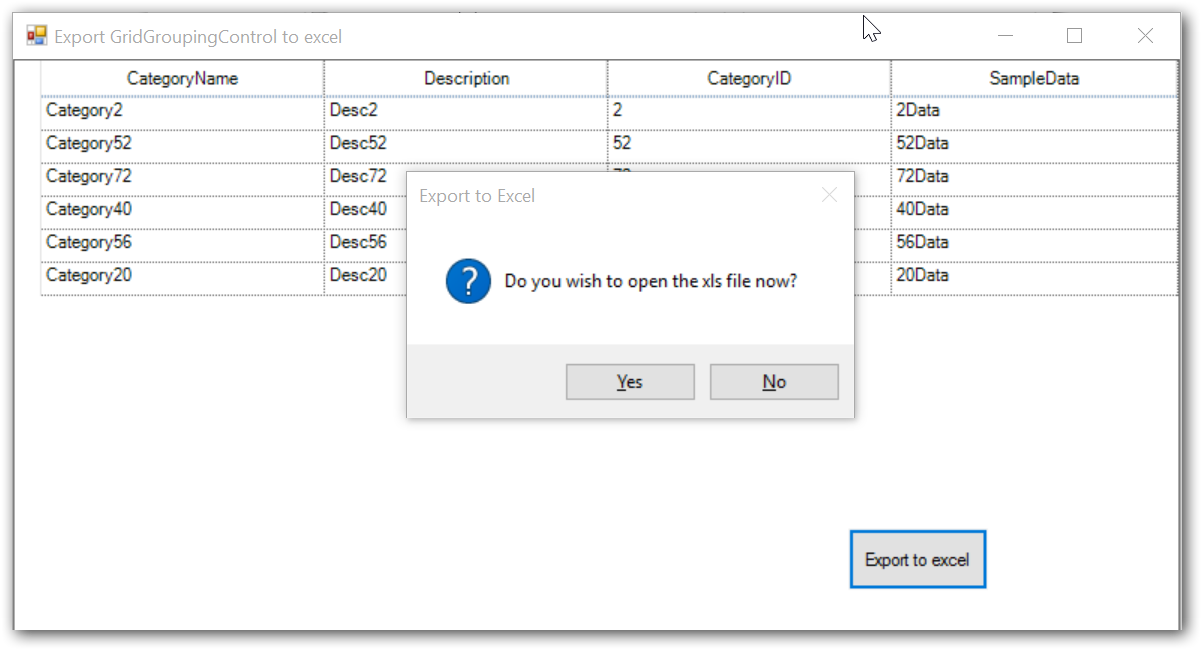 Show the dialog box of exporting to excel