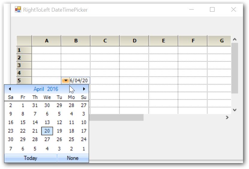 Showing DateTimePicker in GridControl